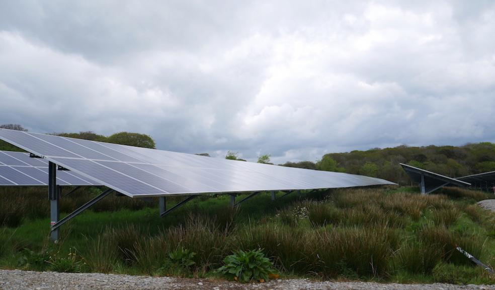 Close up of panels on a Devon solar farm