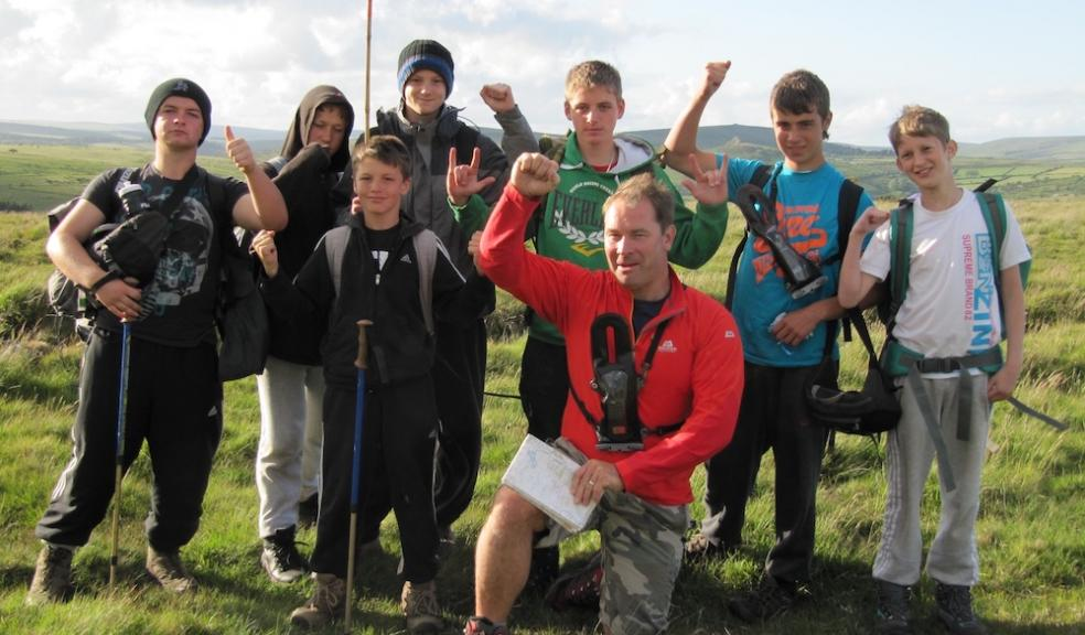 Jack Russell and students on the North to South Dartmoor Challenge