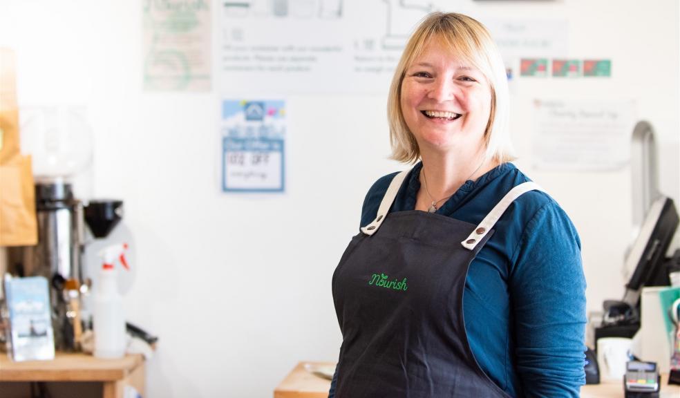 Woman in zero waste shop in Exeter