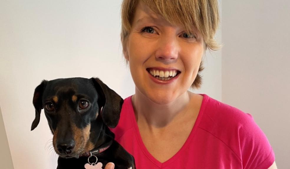 Cancer survivor Heather Duff with her minature dachshund Parsnip