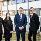 Headteacher Lee Sargeant with students from All Saints Academy