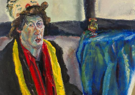 Jean Jones - Blue Table Cloth, Self Portrait
