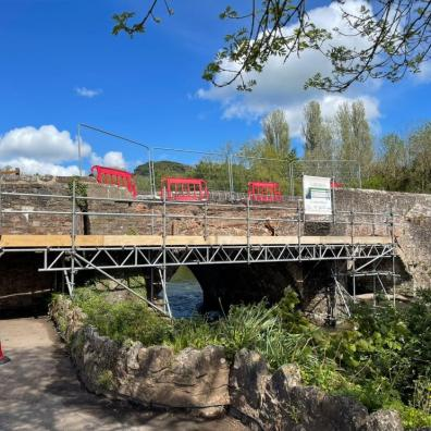 Work is progressing well to repair the historic Bickleigh Bridge