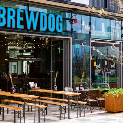 Image of outdoor seating at BrewDog at The Barcode