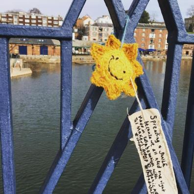 Hand-crocheted SMILES being posted around Exeter to improve the mental wellbeing