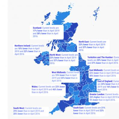 map showing shortage of properties coming to market in each region