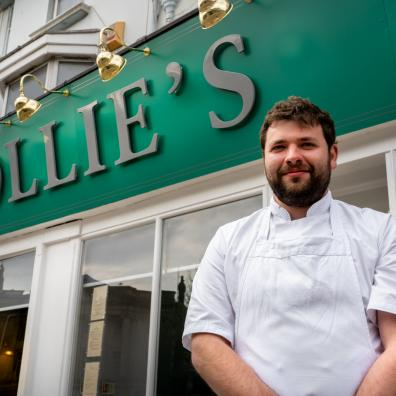Ollie Williamson outside Ollie's Restaurant in Torquay