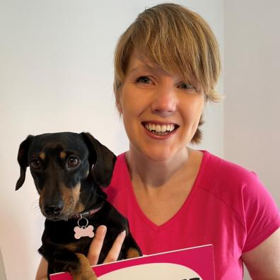 Cancer survivor Heather Duff with her minature dachshund Parsnip