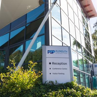 A photograph showing the main reception of Plymouth Science Park on a sunny day