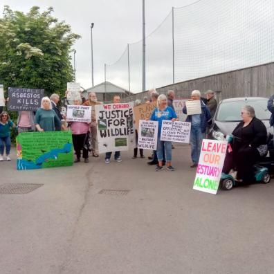 Protestors against the Yelland development on the Taw estuary in North Devon