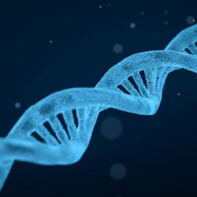 light blue DNA double helix on a dark blue background