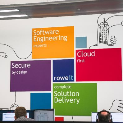 image of Rowe IT office wall, featuring multicoloured boxes with the services they deliver