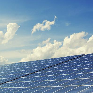 Photovoltaic solar panels against the sky